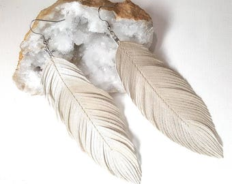 PEARL - Pearlized Faux Leather Feather Earrings, Bohemian Bride, Boho Earrings, Feather Earrings, Pearl Earrings, Pearl Earrings, Bride