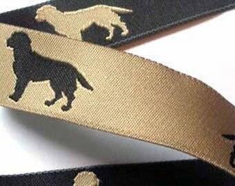 """Woven Ribbon 1""""  Black/Tan Reversible Black Lab Ribbon"""