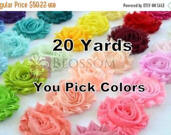 ON SALE 20 YARDS - Chiffon Shabby Rose Trim - U pick colors - 72 Colors - Bulk Wholesale - diy  Flower Headband - Frayed Roses - Wedding Flo