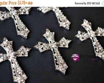 ON SALE Flat Back Metal Rhinestone Cross Embellishments 27mmX35mm - Flower Centers - Wedding Bridal Prom Christening Baptism - Wholesale Sup