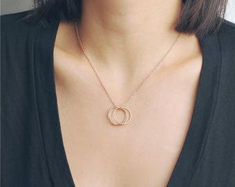 ON SALE Delicate simple triple ring gold necklace - everyday jewelry