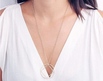 ON SALE Delicate simple everyday long square in circle necklace - minimal necklace