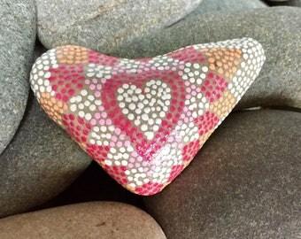 tiny boho heart / painted stones/painted rocks/heart rocks / boho art / hippie art/ dot rocks / dot art / tiny art/ desk art / sea stones