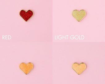 Tiny Glitter Hearts - lapel pins, soft enamel, glitter epoxy, glossy heart, glitter heart, kawaii, cute