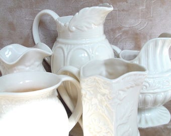 Two's Company Set of 5 Cream Embossed Pitchers