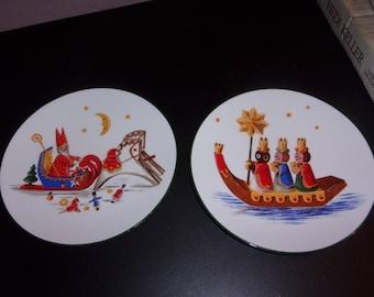 Set of 2 Christmas plates by Bareuther Waldsassen, Bavaria Germany, Porcelain
