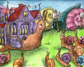 Reserved Snails buying houses shells colorful wall art miniature art Whimsical - Original ART POSTCARD 5 x 7 Inch Watercolor - Katie Hone