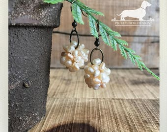 Peach Pearl Cluster. Dangle Earrings -- (Vintage-Style, Beads, Lovely, Romantic, Simple, Wedding Jewelry, Bridesmaid Gift For Her Under 10)