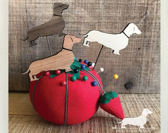 Doxie. Stickpins (Set of 3) -- (Dachshund, Dog Pin, Vintage-Style, Sausage Dog, Wiener Dog, Wood, Jewelry, Christmas Gift, Stocking Stuffer)