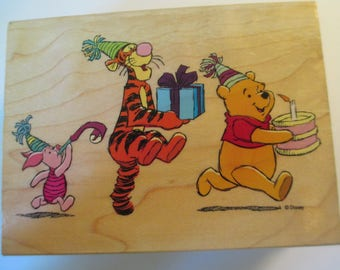 """Rubber Stamps """" Pooh Party Parade"""" For card invitations  Slightly used good condition"""
