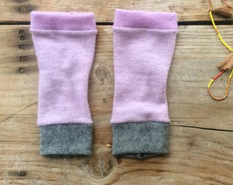 Fingerless Gloves  in lilacs cashmere, wrist warmers, typing gloves