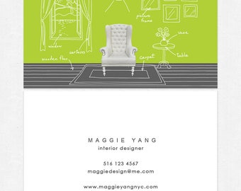 interior designer business cards - DELUXE - thick - color both sides - FREE UPS ground shipping