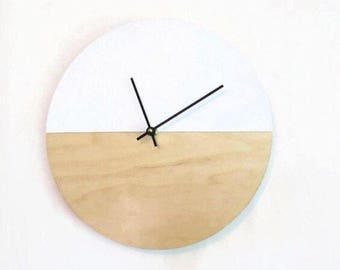 Wall Clock, Vegan Leather, Real Leather, Gift For Couple, White Leather and Wood Home Decor, Minimalist Wall Clock, Home and Living