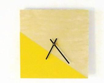 Modern Wall Clock, Silent Clock, Yellow Home Decor, Color Block, Home and Living, Home Decor, Clocks