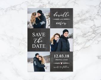 Printable Chalkboard Save the Date Photo Card Invitation