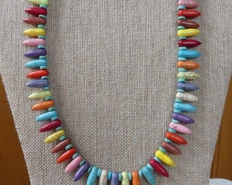 19 Inch Fun, Colorful Stone Spike Necklace with Earrings