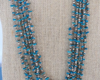 29 Inch Vintage Old Pawn Navajo Six Strand Turquoise and Heishi Nugget Necklace