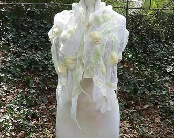 White felted bridal shawl, Wedding felted wrap, Wedding bridal robe, Formal felted wool scarf, Nuno felted merino wool shawl scarf.