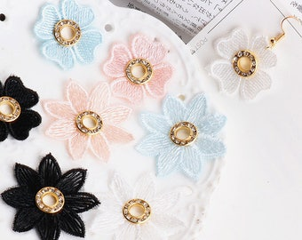 10 pcs Diy jewelry accessories, colourful flowers, Bud silk cloth pendants, earrings accessories