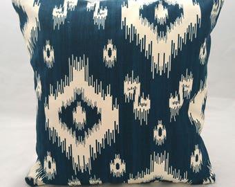 Aztec Bohemian Ikat style Indigo Cushion