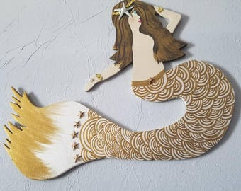 Golden Goddess, hand crafted Mermaid with hand cut wood, with gold headband of sequins, pearls, sea star FREE MERMAID vinyl w.purchase!