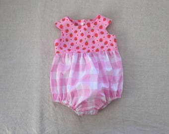 Baby girl romper pink strawberry bubble romper playsuit sunsuit