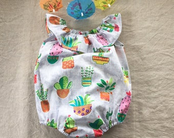 Baby girl romper cactus romper playsuit sunsuit first birthday outfit baby shower gift