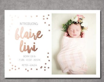 SUMMER SALE Confetti Rose Gold Birth Announcement Card Photo Card Printable or Printed Cards