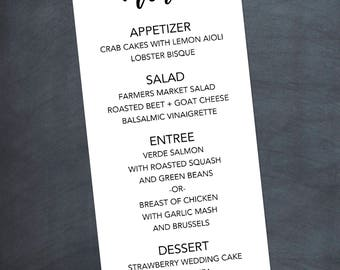 Wedding Menu Dinner Printable or Printed Cards We customize - YOU print