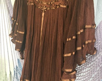 70s Angel Sleeve Gauze Blouse Chocolate Brown Tunic ~ Cover up XS S M