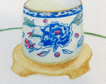 ORIGINAL Art,  Mounted Tea Drinking Scene, Stillness Scene, Zen-like Stillife of Asian Tea Cup with Lavender Tea, Zen Art, Calming Drawing.