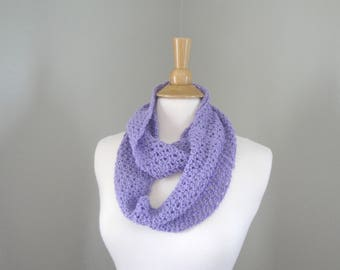 Long Infinity Loop Scarf, Lavender Purple, Hand Knit Cotton Blend, Loose Lacy Airy, Chic Cute