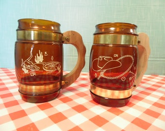 Mid Century Siesta Ware Western Brown Glass Mugs - Barrel Shape - 12 Oz - Cowboy Hat - Steer Head