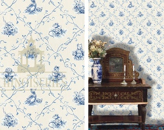 Dollhouse Miniature Toile Wallpaper, Beatrix, Scale One Inch