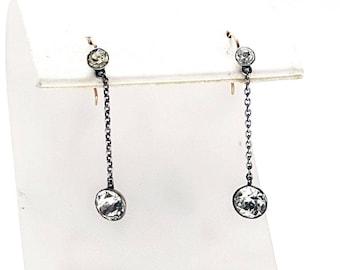 Antique Sterling Silver & Gold Paste Dangle Earrings