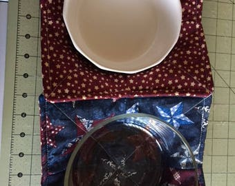Microwave Bowl Cozy Pot Holder Reversable Stars Blue and Dark Red