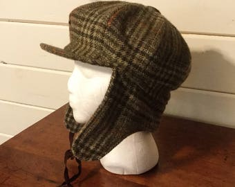 Vintage Wool Plaid Cabbie Hat with Ear Flaps Lochcarron,Deer Stalker Hat