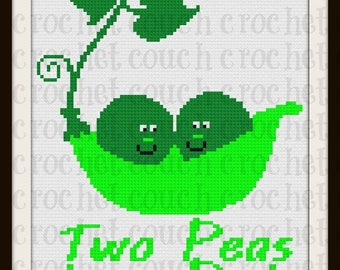 Two Peas in a Pod Afghan, C2C Graph, Written Word Chart