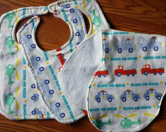 Baby Gift Set,  2 baby bibs and 1 baby burp cloth.  Search and Rescue Flannel with terrycloth backing.  Shower Gift Set.