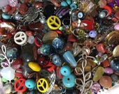 Over 1/4 pound  Bead Mix  Bead Soup Assorted Bead Lot Bulk Wholesale Jewelry Supplies Findings Charms Chain