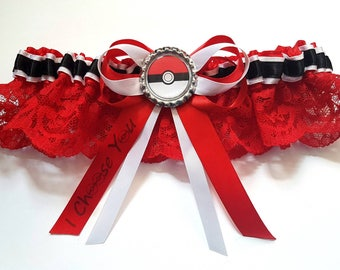 Pokemon Satin/Satin and Lace/Garter Set - choose your own wording on the bow tail