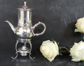RARE  Single Coffee pot with warmer . Belgian Percolator. Moka Pot. Espresso maker by WISKEMANN. Silverware