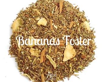 Organic, Banana Cinnamon, Caramel, Green Rooibos, Loose Leaf, Hand Blended, Hot Tea, Caffeine Free, Eco Packaging, BANANAS FOSTER, Dessert,
