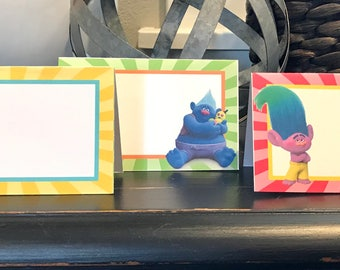 TROLLS INSPIRED Theme Birthday or Baby Shower Buffet Cards Table Tents Food Labels {Set of 8} - Party Packs Available