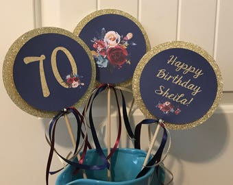 BOHO FLORAL Theme Happy Birthday or Baby Shower Centerpiece Sticks {Set of 3} - Party Packs Available