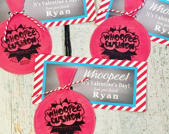 INSTANT DOWNLOAD Whoopee Cushion Valentine's Day Treat Tags Cards