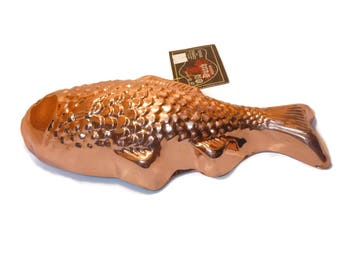 Copper fish jello mold, Old Dutch 1990s decorative mold, NOS with tags, kitchenware kitchen decor, gelatin mold, farmhouse decor