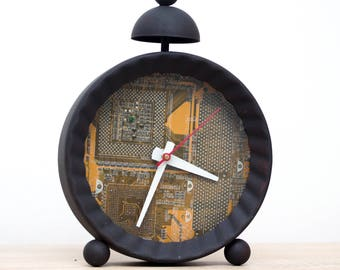 Unique Desk / Wall clock - recycled circuit board clock - yellow / olive green circuit board clock- ready to ship c6984