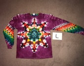 Tie Dye T-Shirt ~ Fire Mandala With Raspberry Background ~ i_9131 in Long Sleeve Adult Large