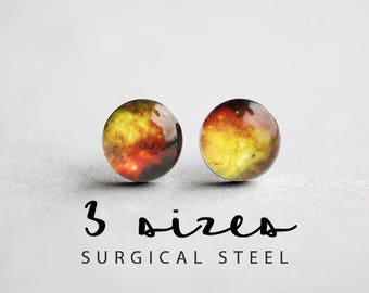 Stardust post earrings, Surgical steal studs, Universe earring stud, Space earring post, Tiny earring studs